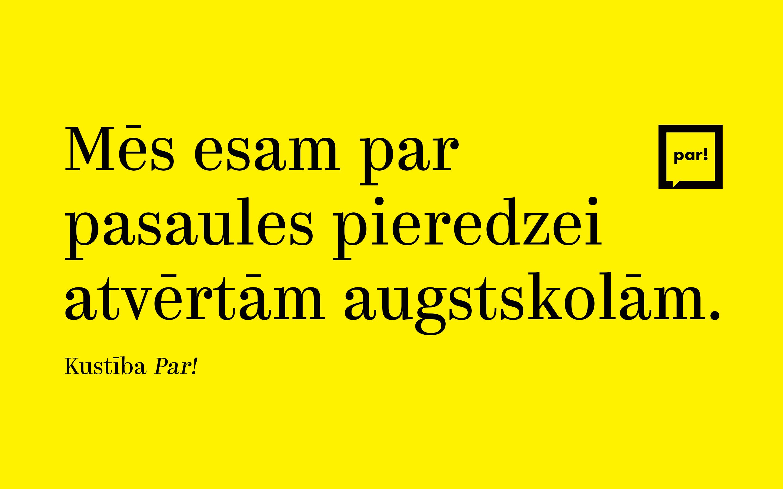 """Kustība """"Par!"""": Šadurskis torpedē augstākās izglītības kvalitāti Latvijā"""