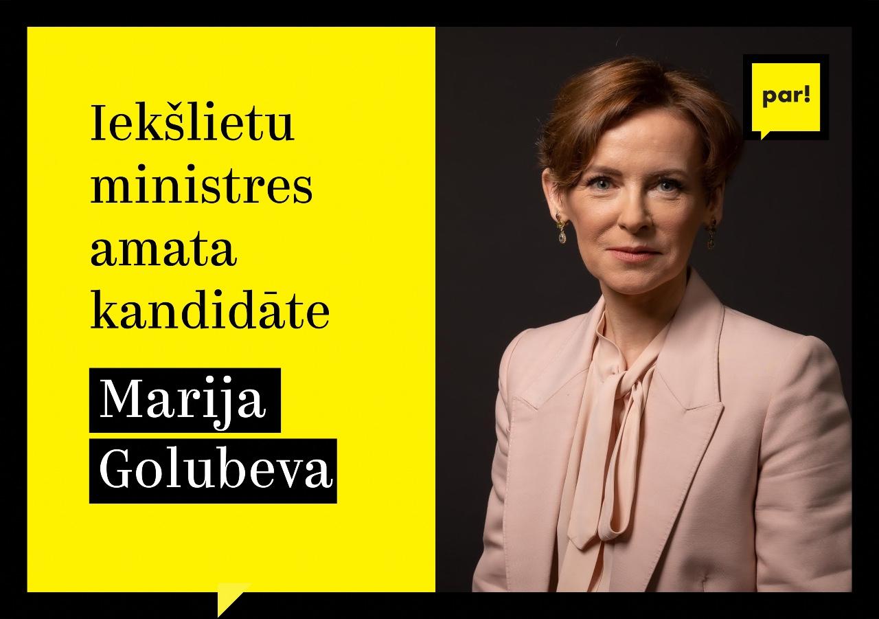 """Kustība """"Par!"""" iekšlietu ministres amatam virza Mariju Golubevu"""