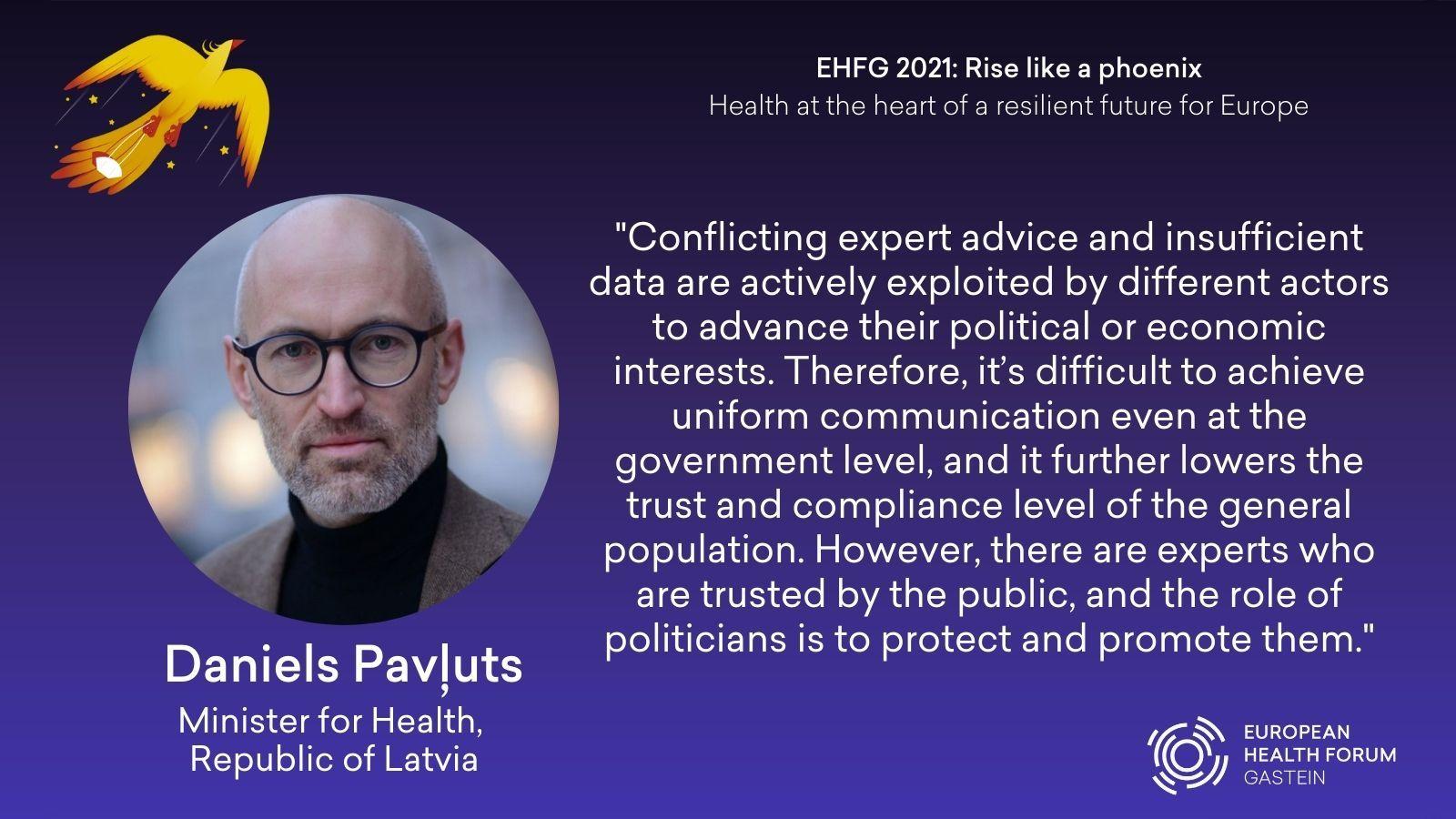 Veselības ministrs Daniels Pavļuts piedalījās respektablajā Eiropas veselības forumā Gasteinā