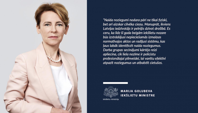 Ministre Marija Golubeva uzdod stiprināt tiesībsargājošo iestāžu spēju reaģēt uz naida noziegumiem